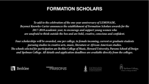 beyonce formation scholarship