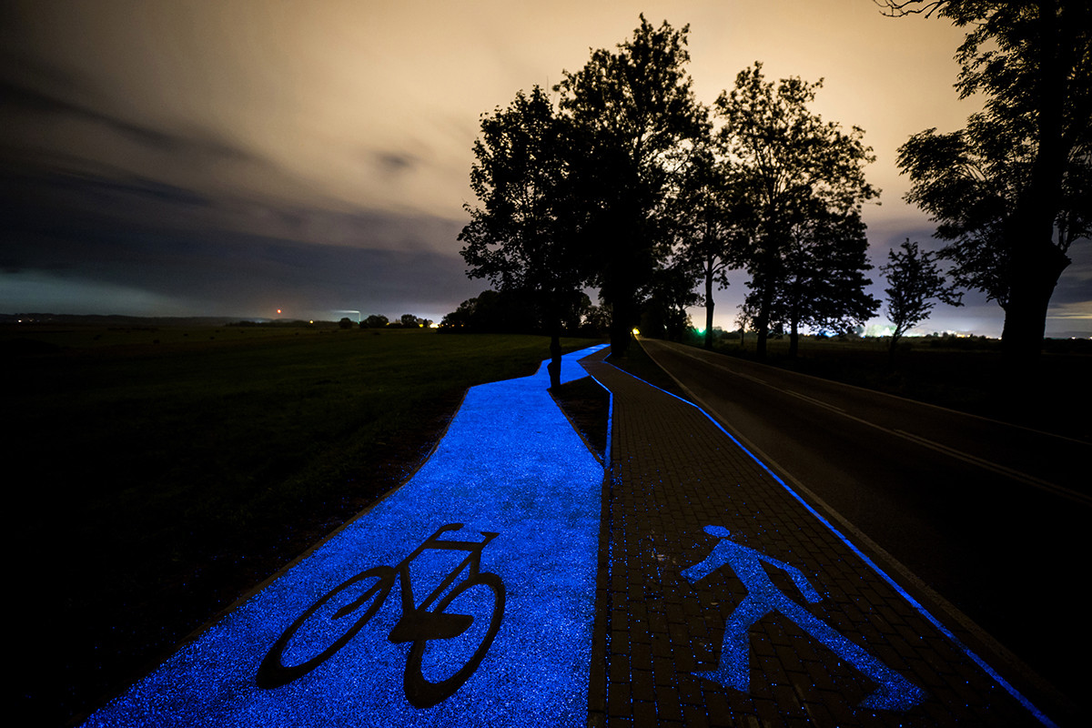 Glow-In-The-Dark Bicycle Path