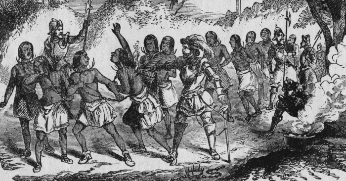 Columbus enslaving Americans